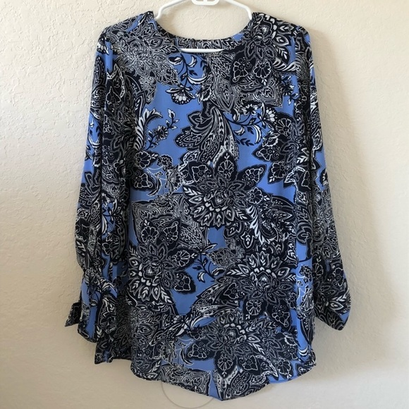 The Limited Tops - The Limited Blue Paisley Patterned Blouse